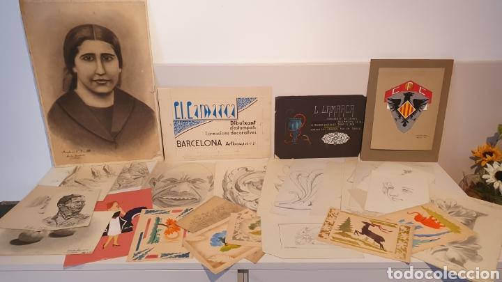 LOTE 35 DIBUJOS DEL LORENZO LAMARCA, DIBUJANTE AÑOS 20-30/ ORIGINALES. (Arte - Dibujos - Modernos siglo XIX)