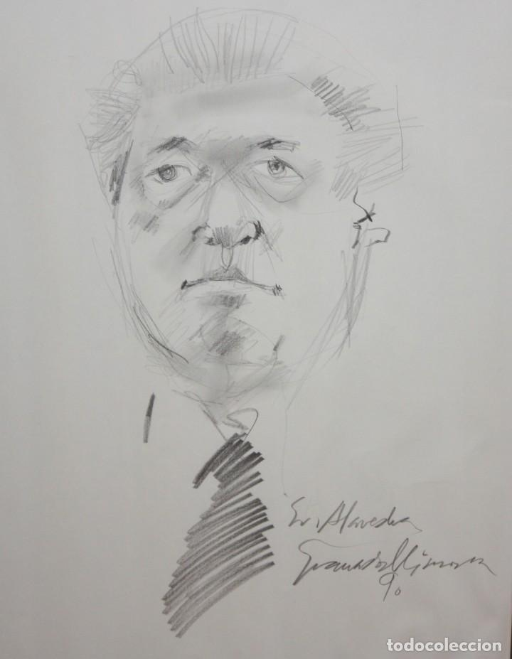 JOAN GRANADOS LLIMONA (BARCELONA, 1931 - 2005) DIBUJO A LAPIZ. RETRATO DEL SR. MACIA ALAVEDRA (Arte - Dibujos - Contemporáneos siglo XX)