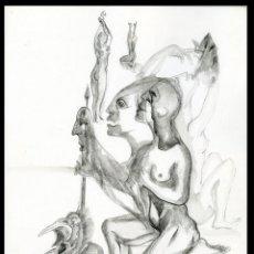 Arte: MANOLO CORONADO. DIBUJO A LÁPIZ ORIGINAL. Lote 204989732