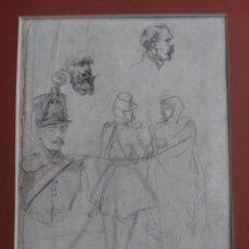 Arte: FRANCISCO DOMINGO MARQUÉS (VALENCIA, 1842 - MADRID, 1920) DIBUJO ORIGINAL - APUNTES - SOLDADOS. Lote 205175125