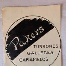 Arte: ORIGINAL PUBLICIDAD TURRONES, GALLETAS Y CARAMELOS PAKERS RENTERIA DE ELFI OSIANDER. Lote 205307957