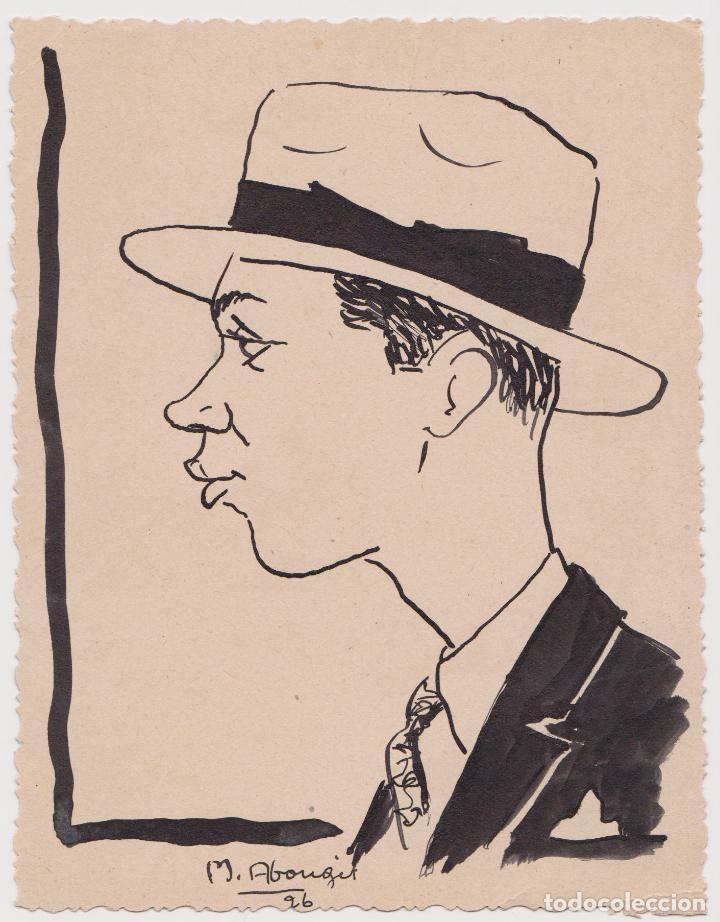 CARICATURA DE UN SEÑOR CON SOMBRERO - FIRMA M. ABOUGIT - 1926 - (11,5X15) (Arte - Dibujos - Contemporáneos siglo XX)