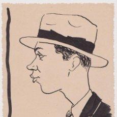 Arte: CARICATURA DE UN SEÑOR CON SOMBRERO - FIRMA M. ABOUGIT - 1926 - (11,5X15). Lote 205402456