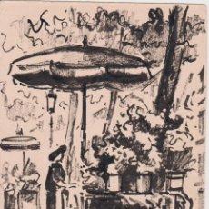 Arte: DIBUJO RAMBLAS BARCELONA - FIRMADO OBACH CARNÉ - 1961 - (12X16,3). Lote 205434331