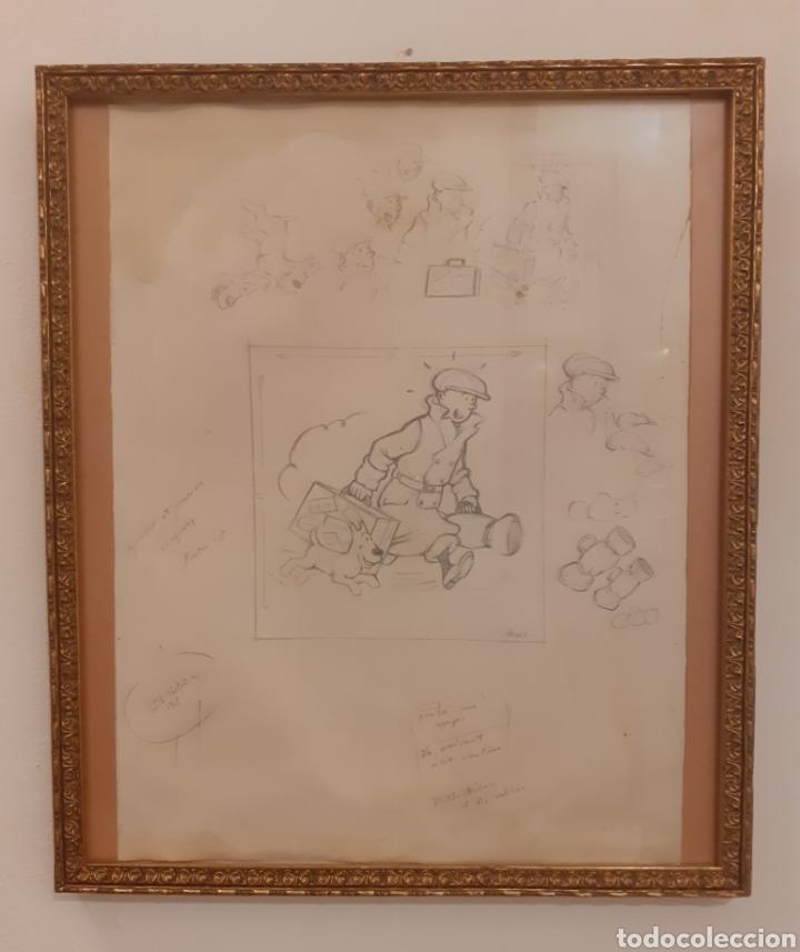 TINTIN- DIBUJO Y BOCETOS ORIGINAL A LAPIZ (Arte - Dibujos - Contemporáneos siglo XX)