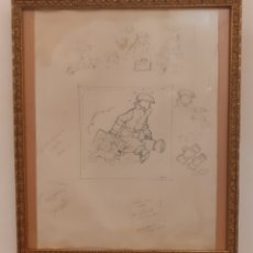 Arte: TINTIN- DIBUJO Y BOCETOS ORIGINAL A LAPIZ. Lote 205458587