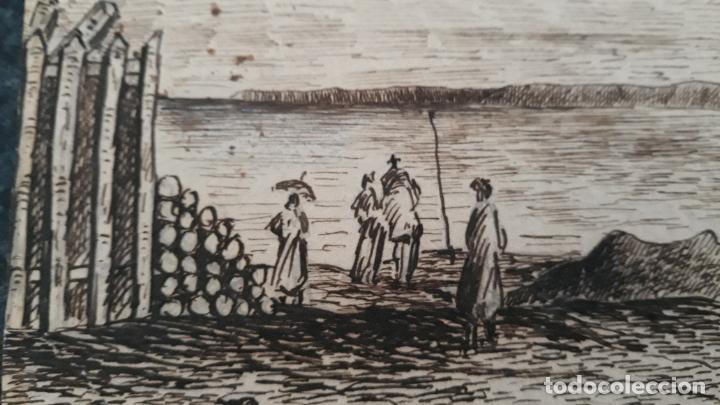 Arte: plumilla de escuela francesa siglo xix,1869 playa saint-valery firmado - Foto 3 - 205468392