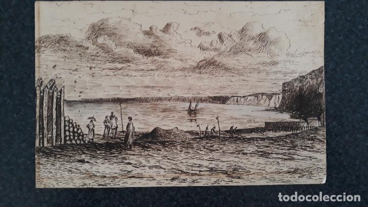 PLUMILLA DE ESCUELA FRANCESA SIGLO XIX,1869 PLAYA SAINT-VALERY FIRMADO (Arte - Dibujos - Modernos siglo XIX)