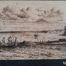 Arte: PLUMILLA DE ESCUELA FRANCESA SIGLO XIX,1869 PLAYA SAINT-VALERY FIRMADO. Lote 205468392