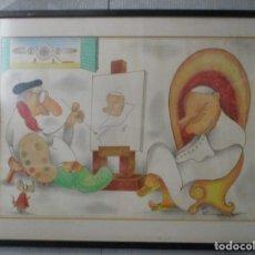 Arte: ORIGINAL XAVIER CUGAT / JUAN PABLO II / PAPA WOJTYLA Y AUTORETRATO. Lote 205525170