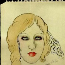Arte: YAGO CÉSAR: ROSTRO DE MUJER. 1943. DEDICATORIA MANUSCRITA. Lote 205534506