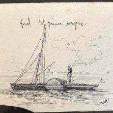 Arte: NICANOR VÁZQUEZ (1861-1930) BARCO A VAPOR. Lote 205562343