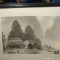 Arte: ANTIGUO DIBUJO JAPONÉS O CHINO SOBRE SEDA O TELA DEL SIGLO XIX. Lote 205611055