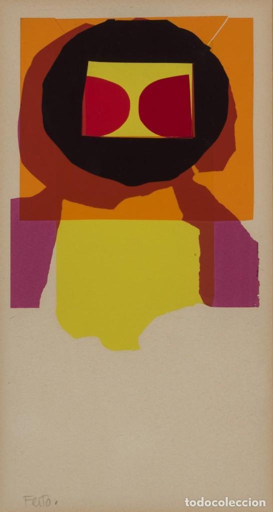 LUIS FEITO OBRA ORIGINAL Y ÚNICA COLLAGE FIRMADO NOEL 1974 ENMARCADO (Arte - Dibujos - Contemporáneos siglo XX)