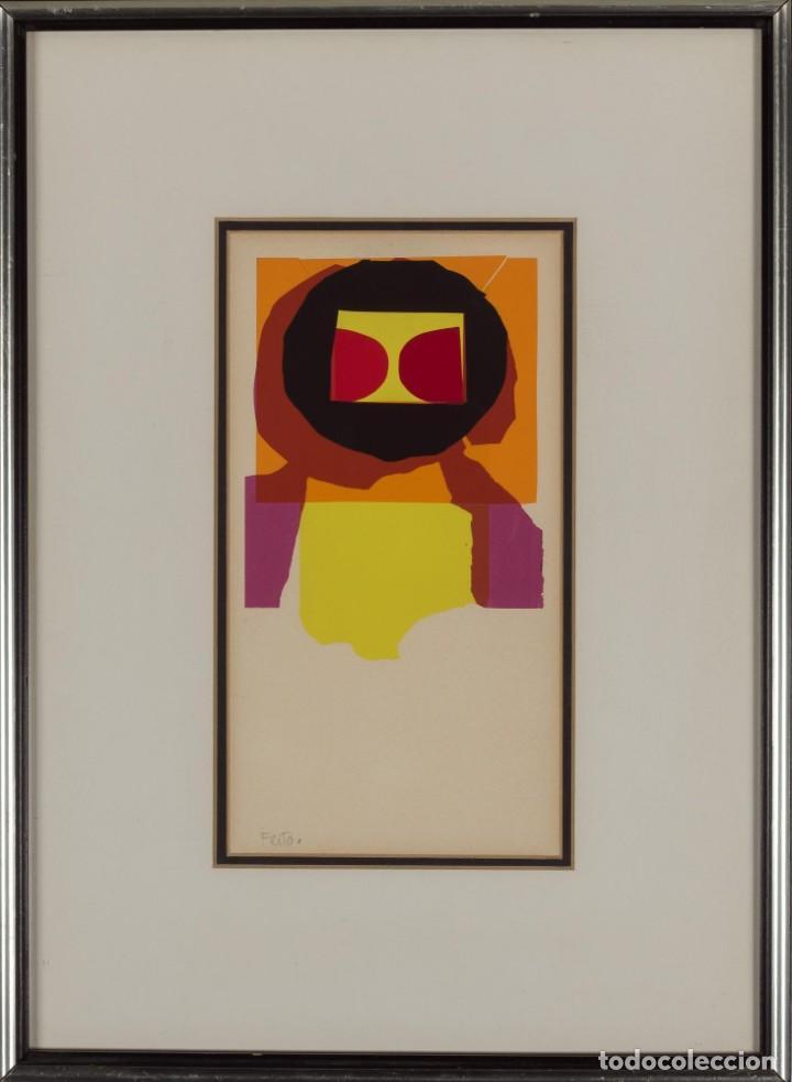 Arte: LUIS FEITO Obra Original y Única Collage Firmado Noel 1974 Enmarcado - Foto 2 - 205681756