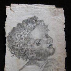 Arte: DIBUJO DE ACADEMIA, ESTUDIO DE UNA CABEZA DE NIÑO. FIRMADO. 30 X 19,2 CM. Lote 205694497