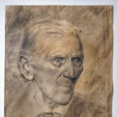 Arte: MAGISTRAL RETRATO REALISTA A CARBONCILLO, FIRMADO Y FECHADO VINZENZ DECKER 1884 CALIDAD. Lote 205708158