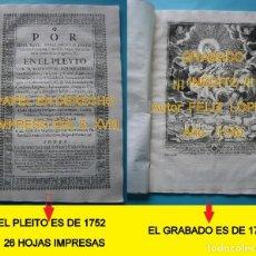 Arte: IMPRESO - PLEITO FAMILIA DE LOS PORTOCARRERO SOBRE MAYORAZGO PUEBLA MAESTRE 1752 CON GRABADO DE 1740. Lote 205724286