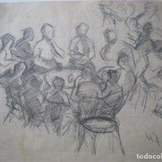 Arte: DIBUJO DE PERSONAS ALREDEDOR MESA BAR 29 X 21 CM. Lote 205749141