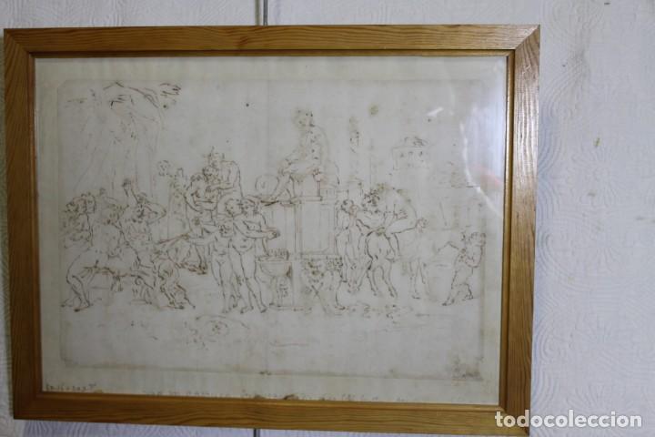 JUAN DEL CASTILLO, DIBUJO A TINTA, FIESTA DE FAUNOS O DIOS PAN (Arte - Dibujos - Antiguos hasta el siglo XVIII)