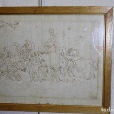 Arte: JUAN DEL CASTILLO, DIBUJO A TINTA, FIESTA DE FAUNOS O DIOS PAN. Lote 206188360