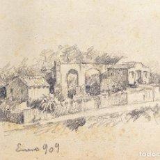 Arte: CASA CON JARDÍN. GRAFITO SOBRE PAPEL. ATRIB. JULIÁN DEL POZO. ESPAÑA. 1909. Lote 206229140