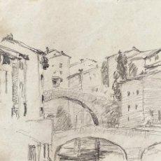 Arte: PUENTES. GRAFITO SOBRE PAPEL. ATRIB. JULIÁN DEL POZO Y LA ORDEN. ESPAÑA. XIX-XX. Lote 206230652