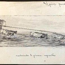 Arte: NICANOR VÁZQUEZ (1861-1930) CONDUCIENDO LA PRIMERA IMPRENTA. Lote 206249141