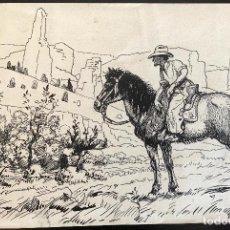 Arte: JOAN LLAVERIAS (1865-1938) ILUSTRACIÓN ORIGINAL PARA NOVELA DEL OESTE. Lote 206256105