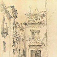 Arte: CALLEJUELA DE GRANADA. GRAFITO SOBRE PAPEL. ATRIB. JULIÁN DEL POZO. ESPAÑA. CIRCA 1889. Lote 206338365