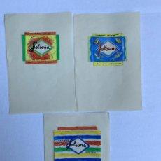 Arte: TRES ORIGINALES PUBLICIDAD GALLETAS SOLSONA DE ELFI OSIANDER. Lote 206357642