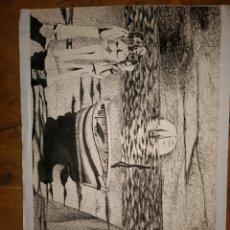 Arte: DIBUJO A BOLIGRAFO SOBRE CARTULINA MANUEL BUENO. Lote 206406103
