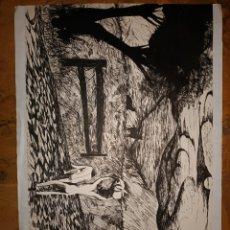 Arte: BONITO DIBUJO A BOLIGRAFO SOBRE CARTULINA MANUEL BUENO. Lote 206406201