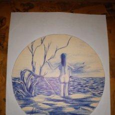 Arte: BONITO DIBUJO A BOLIGRAFO MANUEL BUENO. Lote 206406451