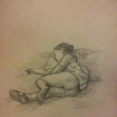 Arte: NENA DORMINT. ORIGINAL DE FRANCESC GASSÓ. 30 X 23 CM. SIGNAT - ART CATALÀ. Lote 200250753