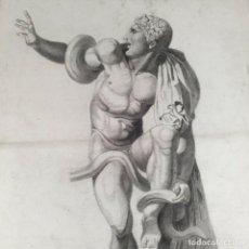 Arte: DIBUJO CARBONCILLO ACADÉMICO DESNUDO MASCULINO. INICIOS DEL SIGLO XX. Lote 206976560