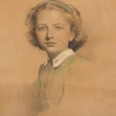 Arte: JOSE MARIA VIDAL-QUADRAS (1891 - 1977) DIBUJO A PASTEL DEL AÑO 1945. RETRATO DE UNA NIÑA. Lote 207041853