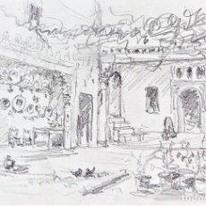 Arte: PATIO ANDALUZ. GRAFITO SOBRE PAPEL. ATRIB. JULIÁN DEL POZO. ESPAÑA. XIX-XX. Lote 207067942