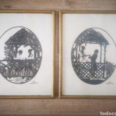 Arte: EVA SCHOENBERG , PAREJA DE OBRAS DE LA ARTISTA ALEMANA, AÑOS 20. ENMARCADAS. 31X26CM. Lote 207075602
