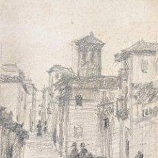 Arte: CALLES DE GRANADA. GRAFITO SOBRE PAPEL. ATRIB. JULIÁN DEL POZO. ESPAÑA. 1889. Lote 207088462