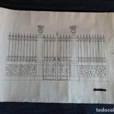 Arte: DIBUJO TÉCNICO (PLUMA). REJA DE HIERRO CON DOS MACETEROS.. Lote 207106048