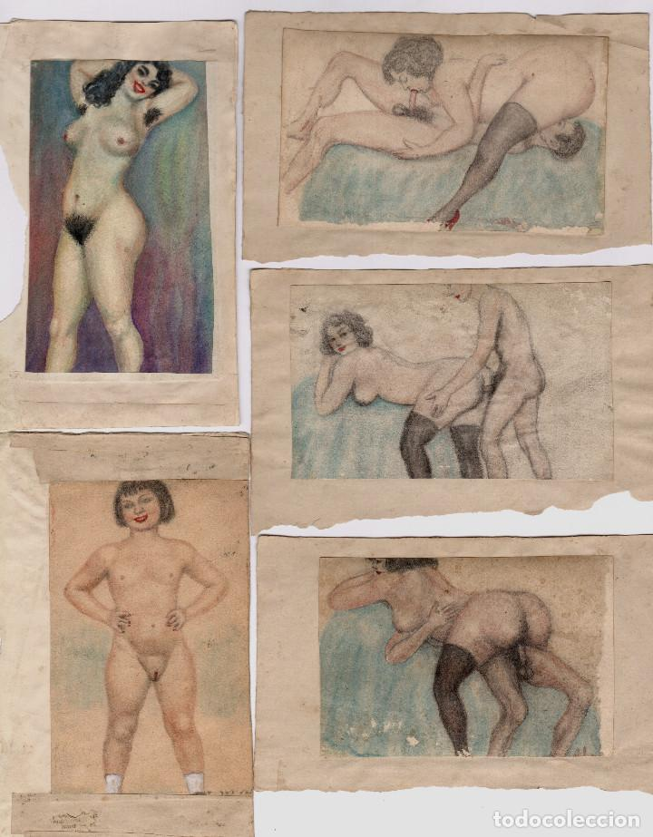 EROTISMO - LOTE DE DIBUJOS ERÓTICOS SOBRE PAPEL. ESPAÑA 1930-1950'S. (Arte - Dibujos - Contemporáneos siglo XX)