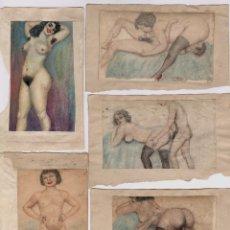 Arte: EROTISMO - LOTE DE DIBUJOS ERÓTICOS SOBRE PAPEL. ESPAÑA 1930-1950'S.. Lote 207109381