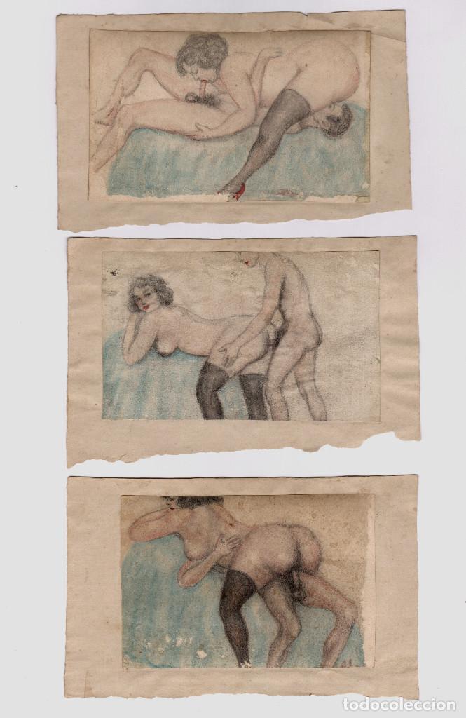 Arte: EROTISMO - lote de dibujos eróticos sobre papel. España 1930-1950's. - Foto 2 - 207109381
