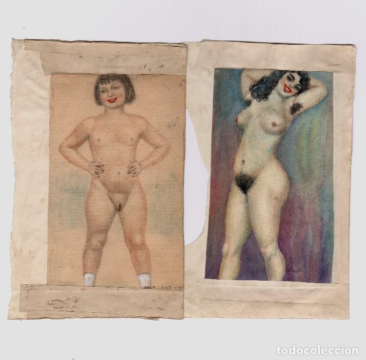 Arte: EROTISMO - lote de dibujos eróticos sobre papel. España 1930-1950's. - Foto 3 - 207109381