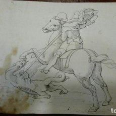 Arte: DIBUJO ORIGINAL. ANTONIO MAFFEI ROSAL. SAN JORGE Y EL DRAGÓN HACIA 1840.. Lote 207341647