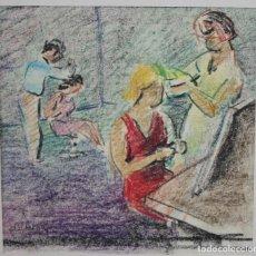 Arte: FIRMADO DUTERNAY. DIBUJO A CERAS. PERSONAJES. Lote 207480238