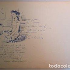 Arte: DIBUIX DE RAMON CALSINA D'UNA NOIA EN UN TORN DE CERÀMICA - FIRMAT I DEDICAT - C. 1973. Lote 207490952
