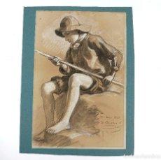 Arte: DIONÍS BAIXERAS (1862-1943), PESCADOR, AÑO 1924, DIBUJO AL CARBONCILLO SOBRE PAPEL. 48,5X32,5CM. Lote 207580918