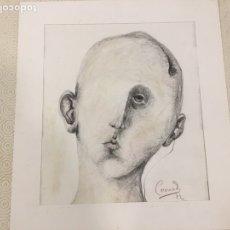 Arte: MANUEL CORONADO, DIBUJO A LÁPIZ ORIGINAL. MEDIDAS 32 X 36 CM Y 28 X23 CM INTERIOR. Lote 207706562